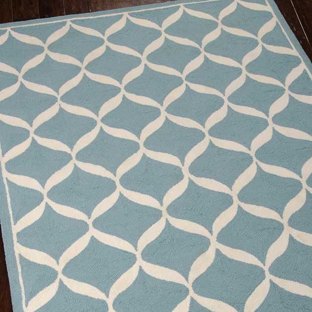 Decor Rugs DER06 by Nourison in Aqua and White