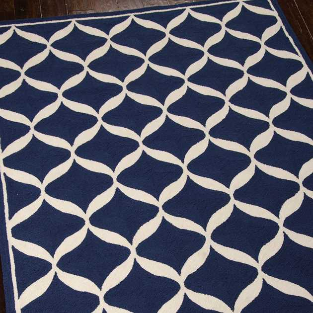 Decor Rugs DER06 by Nourison in Navy and White
