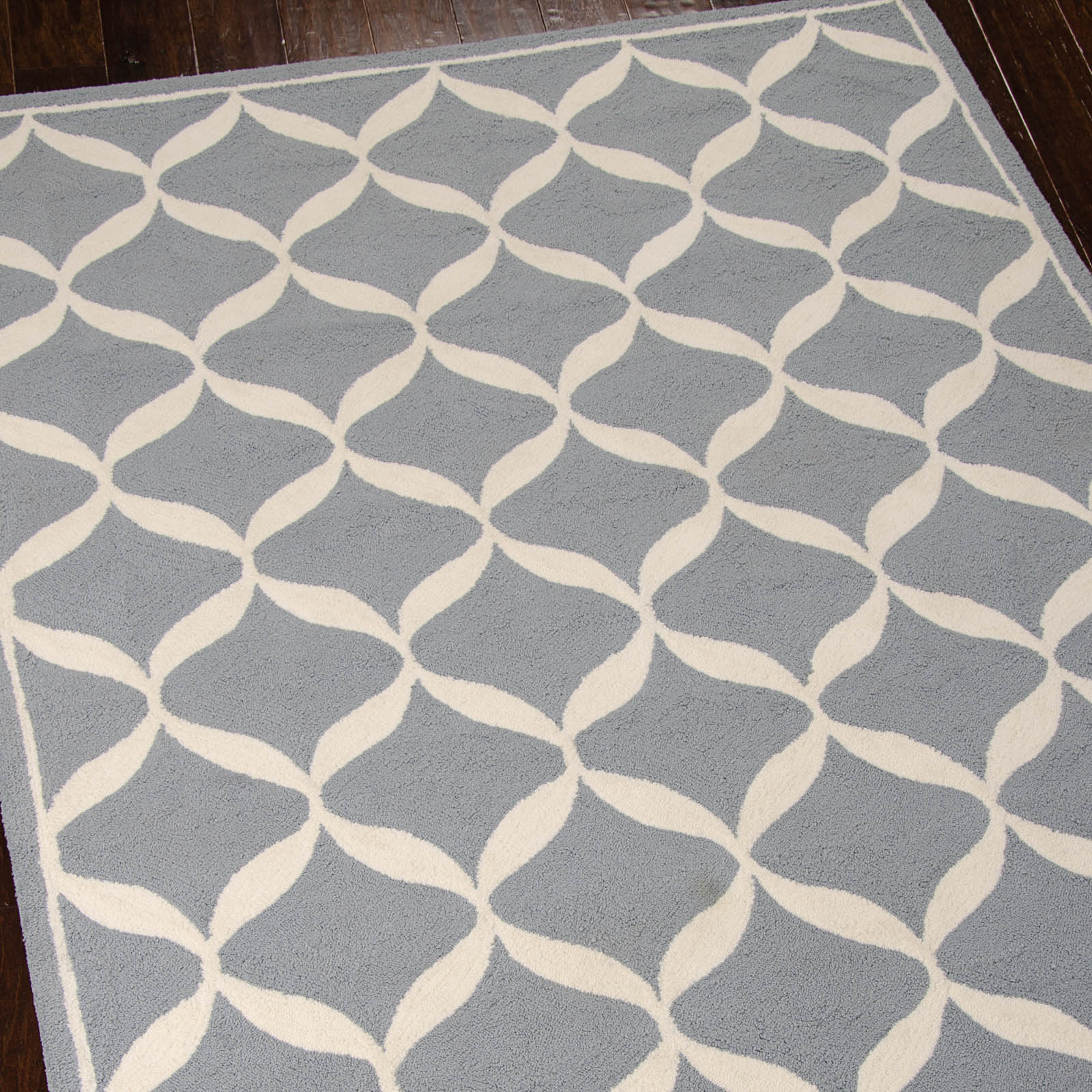 Decor Rugs DER06 by Nourison in Slate and White