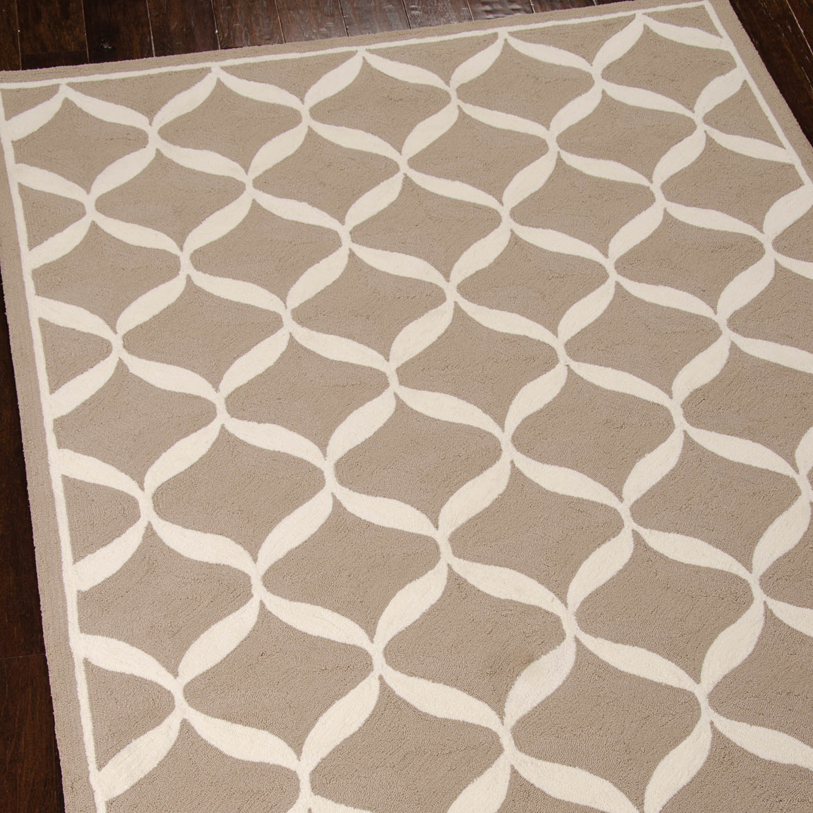 Decor Rugs DER06 by Nourison in Taupe and White