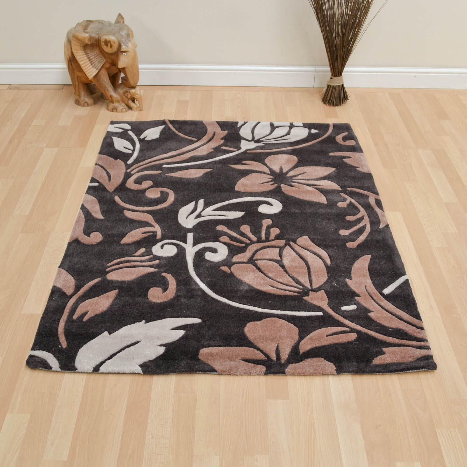 Infinite Damask Rugs in Brown Cream