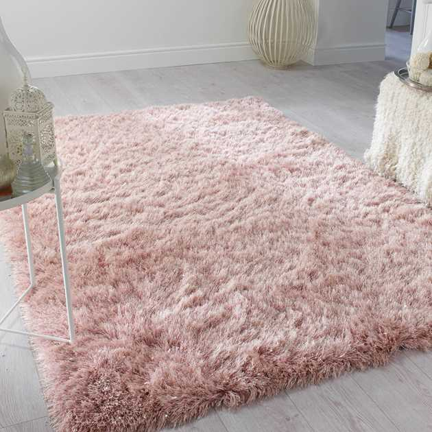 Dazzle Shaggy Rugs In Blush Pink