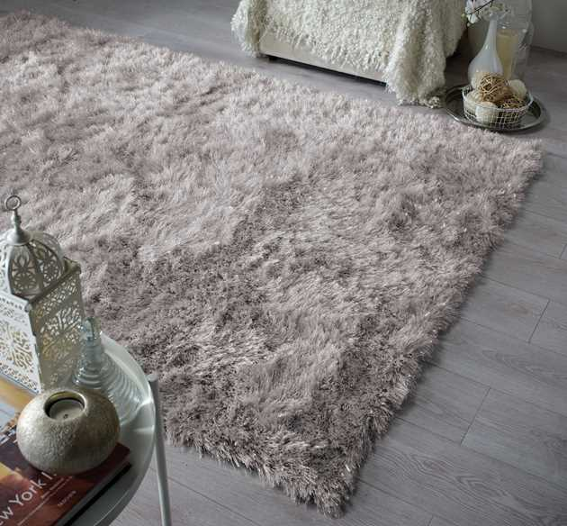 Dazzle Shaggy Rugs in Silver