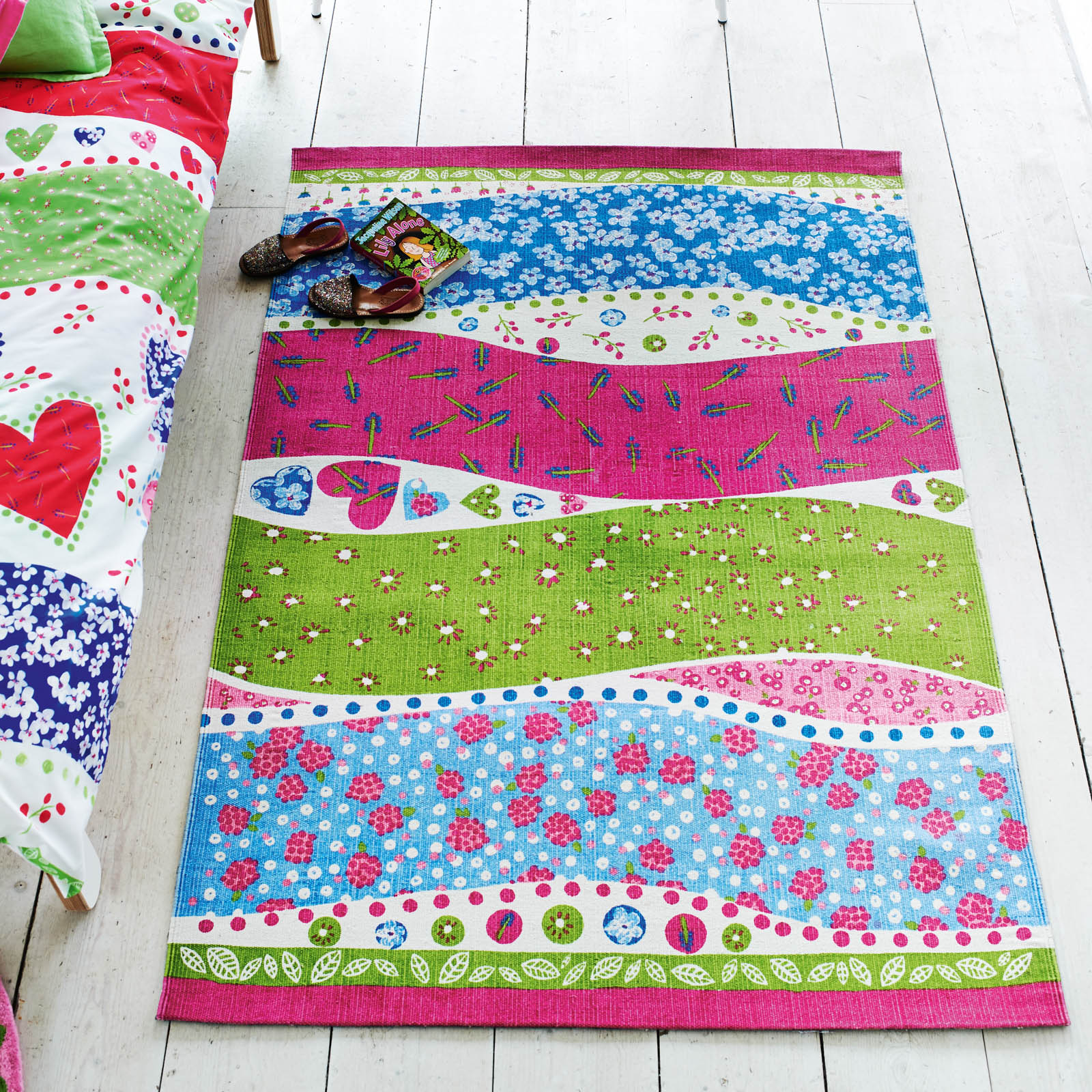 Dotty Hearts Fuchia Rugs by Designers Guild