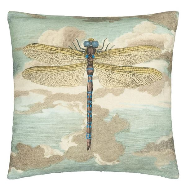 Dragonfly Over Clouds Cushion - Sky Blue