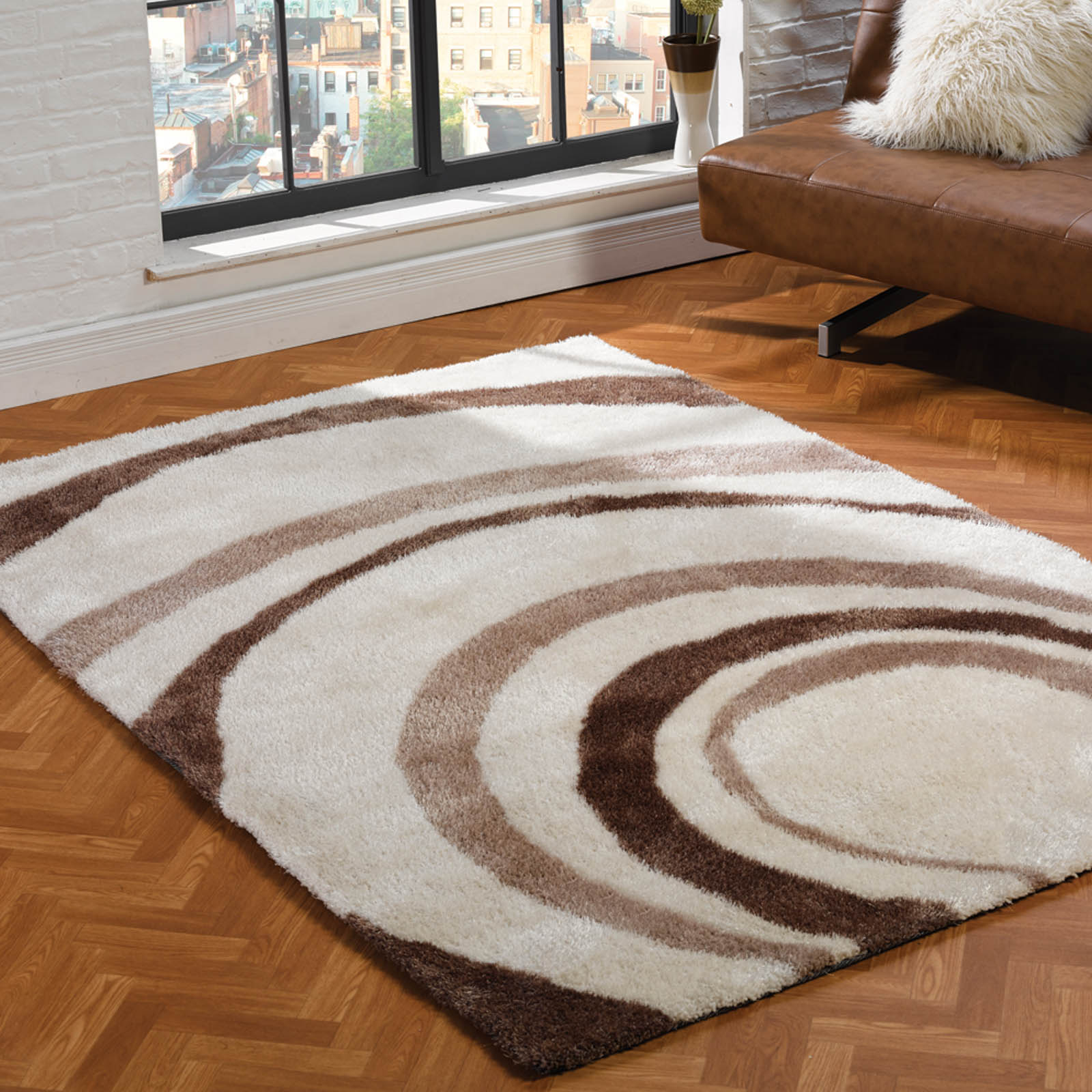 Grande Vista Droplet Rugs in Cream and Beige