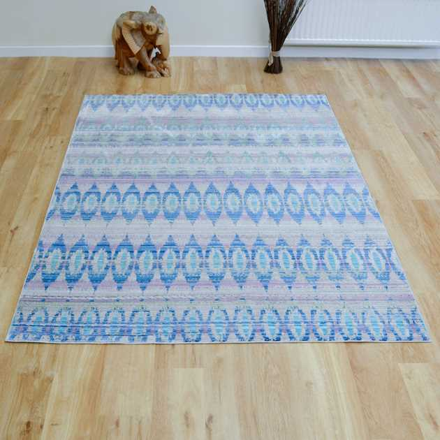 Aqua Silk Rugs E165a in Navy Blue