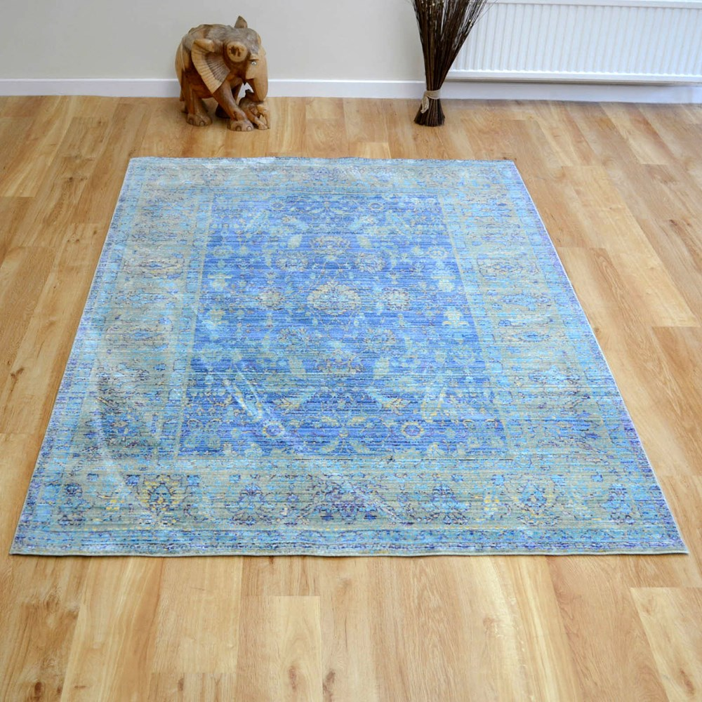 Aqua Silk Traditional Rugs E309b In Blue Buy Online From