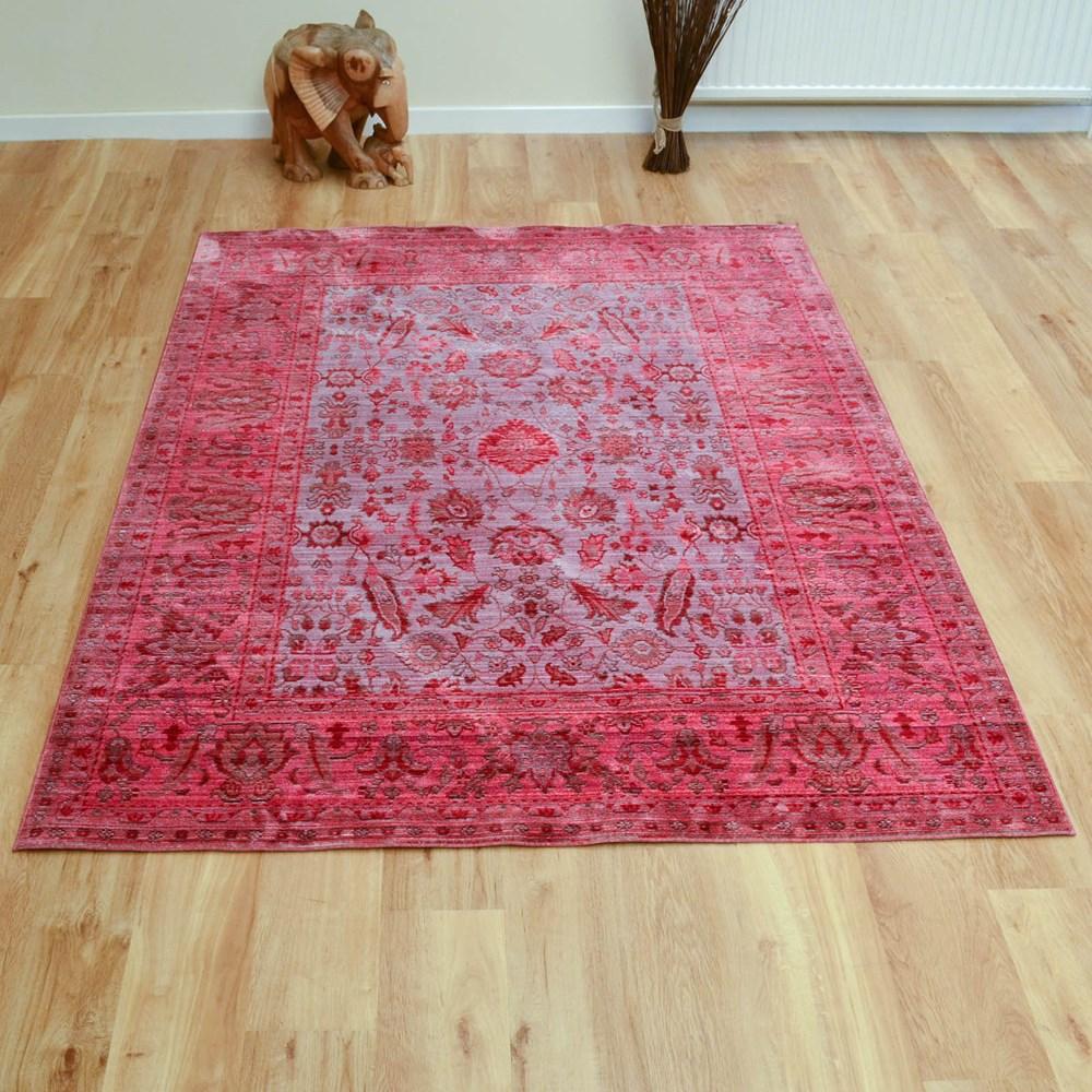Aqua Silk Traditional Rugs E309c In Brown And Fuchsia Pink