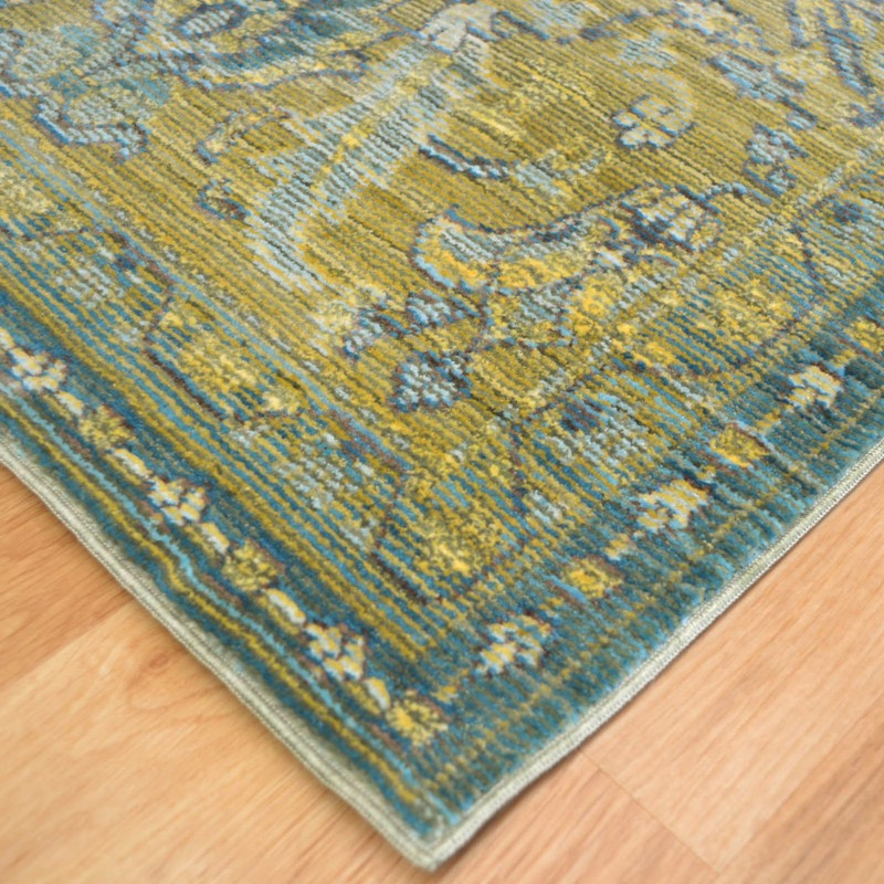 Aqua Silk Traditional Rugs E309c In Green And Blue Buy