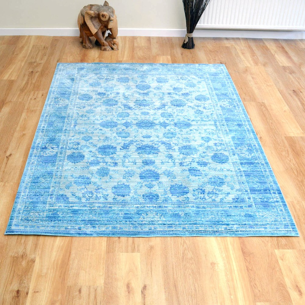 Aqua Silk Traditional Rugs E414a In Blue Buy Online From