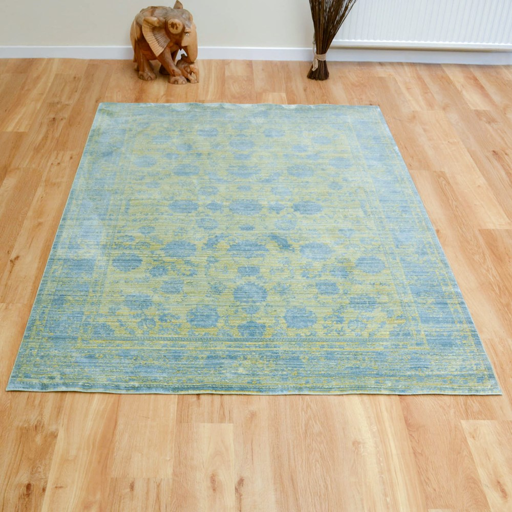 Aqua Silk Traditional Rugs E414a In Dark Yellow And Blue
