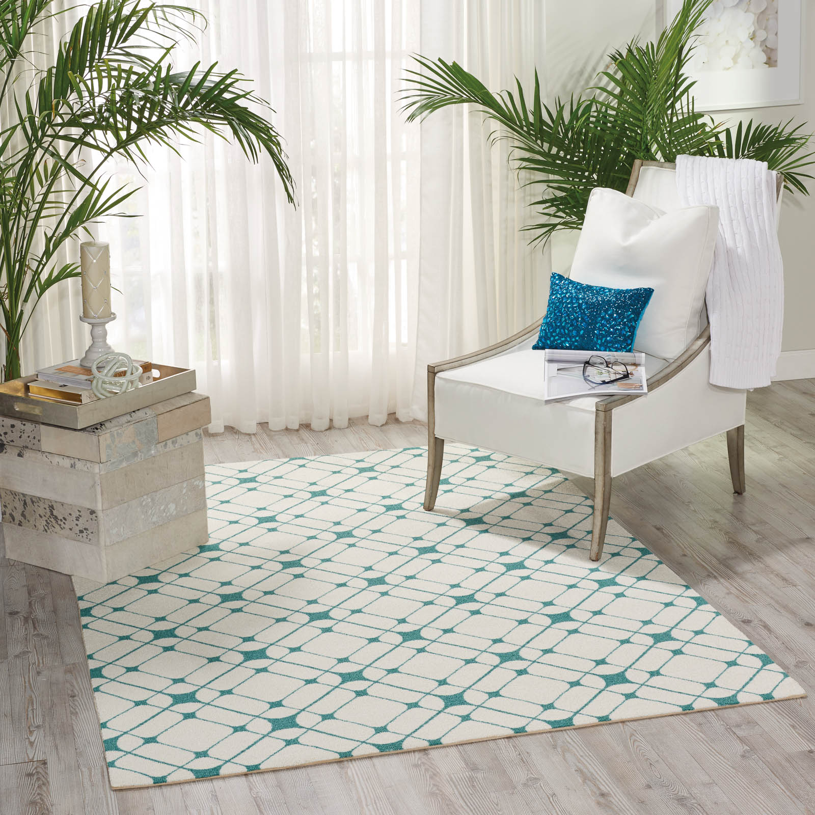 enhance Rugs EN005 in Ivory and Turquoise