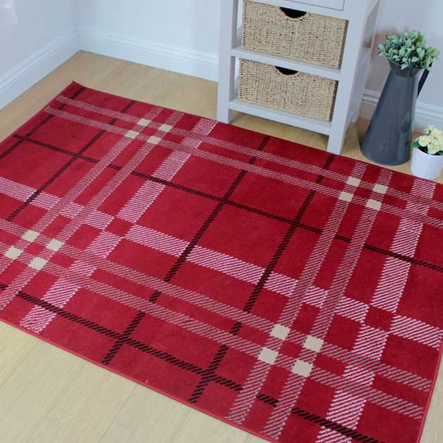 Element Plaid Rugs in Red