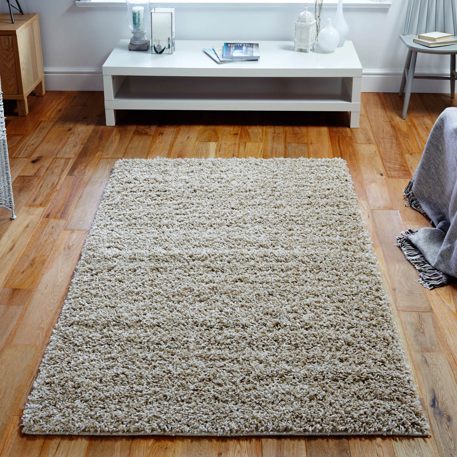 Elsa Shaggy Rugs in Mink