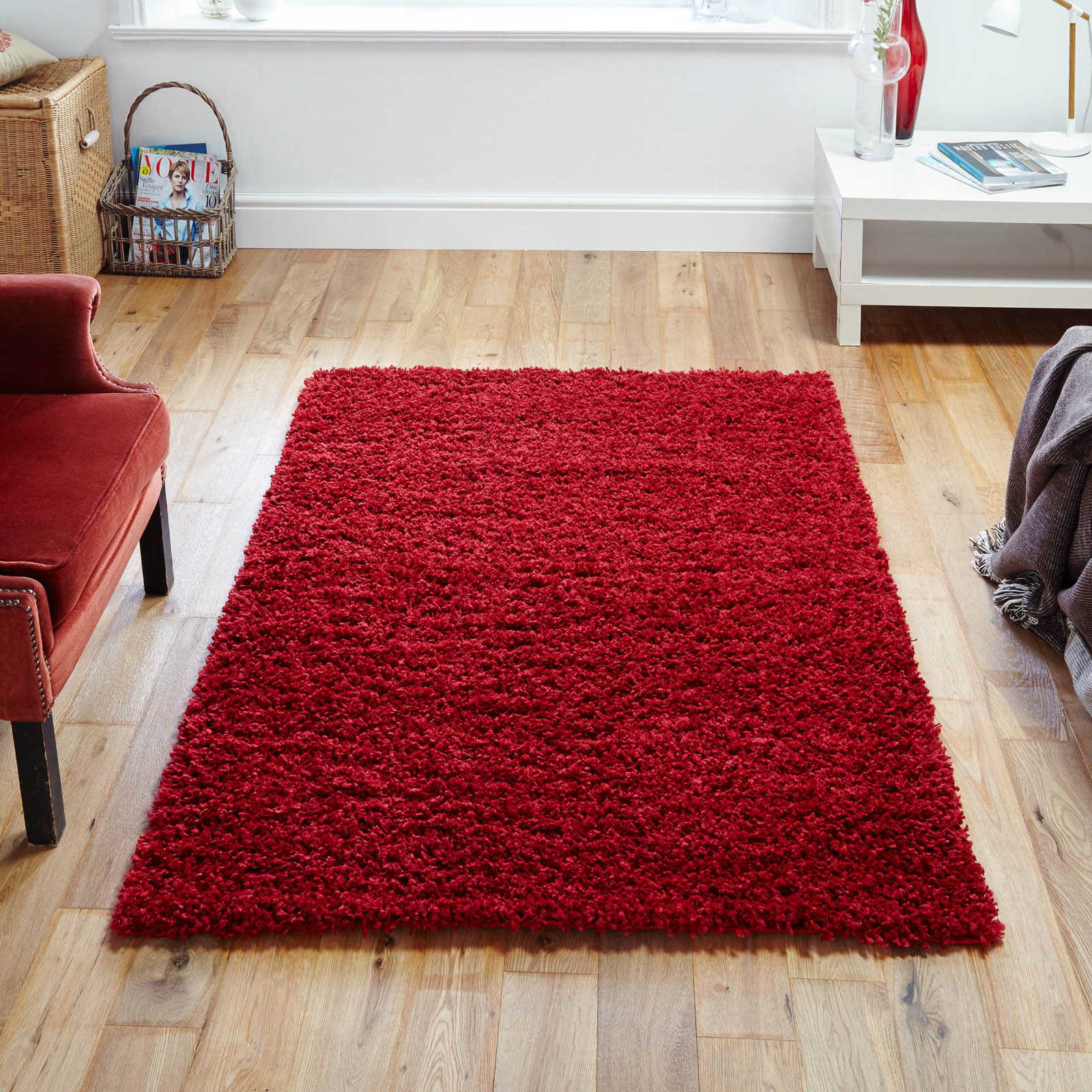 Elsa Shaggy Rugs in Red