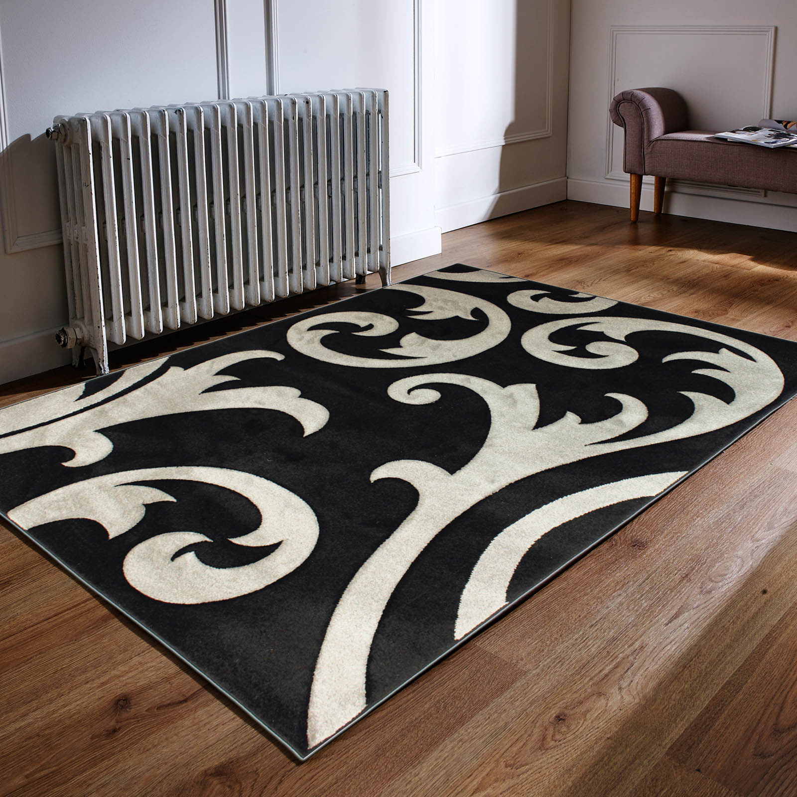 Hand Carved Elude Rugs in Grey and Black