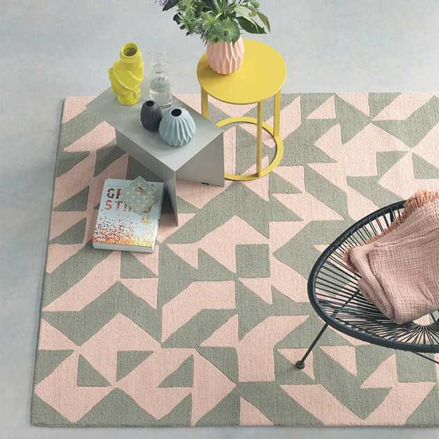 Estella Origami Rugs 89002 in Pink and Taupe by Brink and Campman