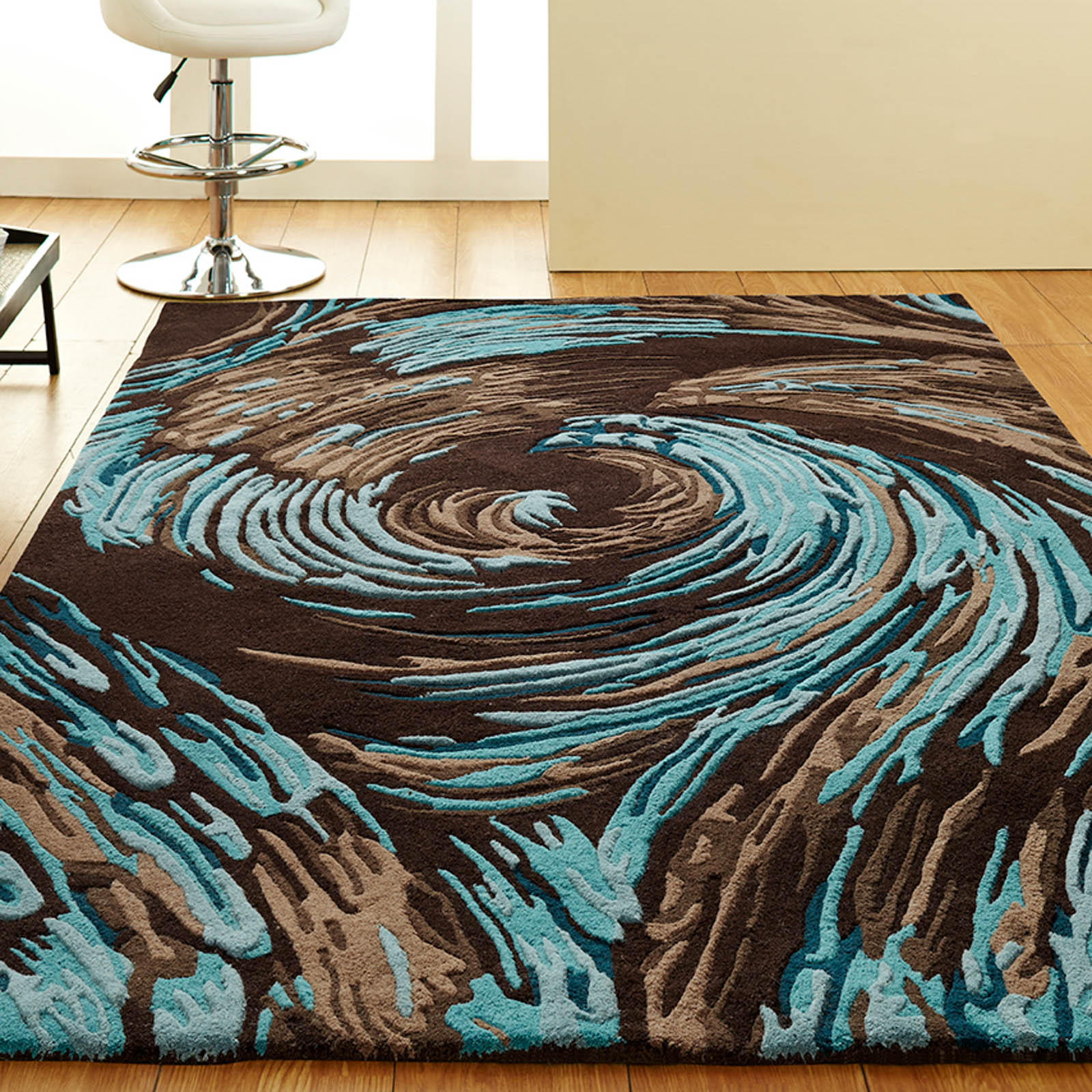 Unique Evolution Rugs in Chocolate Blue