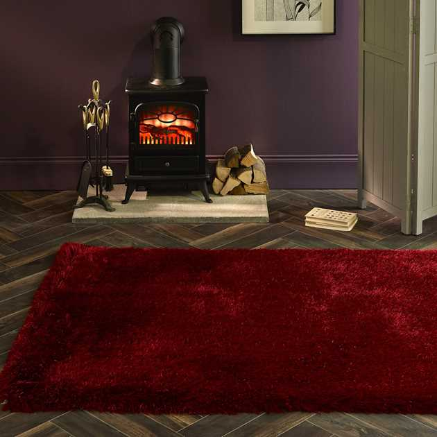 Extravagance Shaggy Rugs in Red