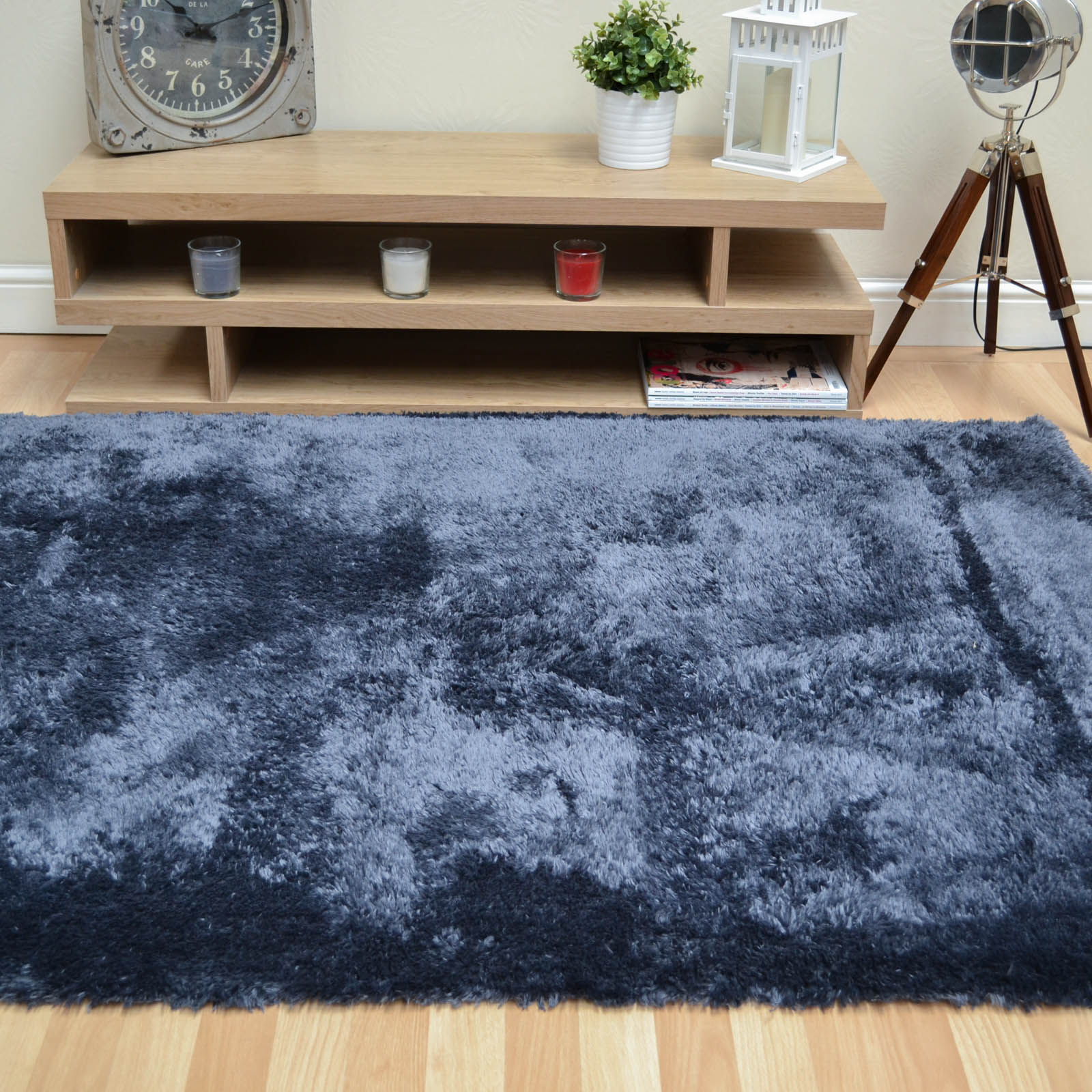 Footsie Shaggy Rugs FOO03 in Charcoal