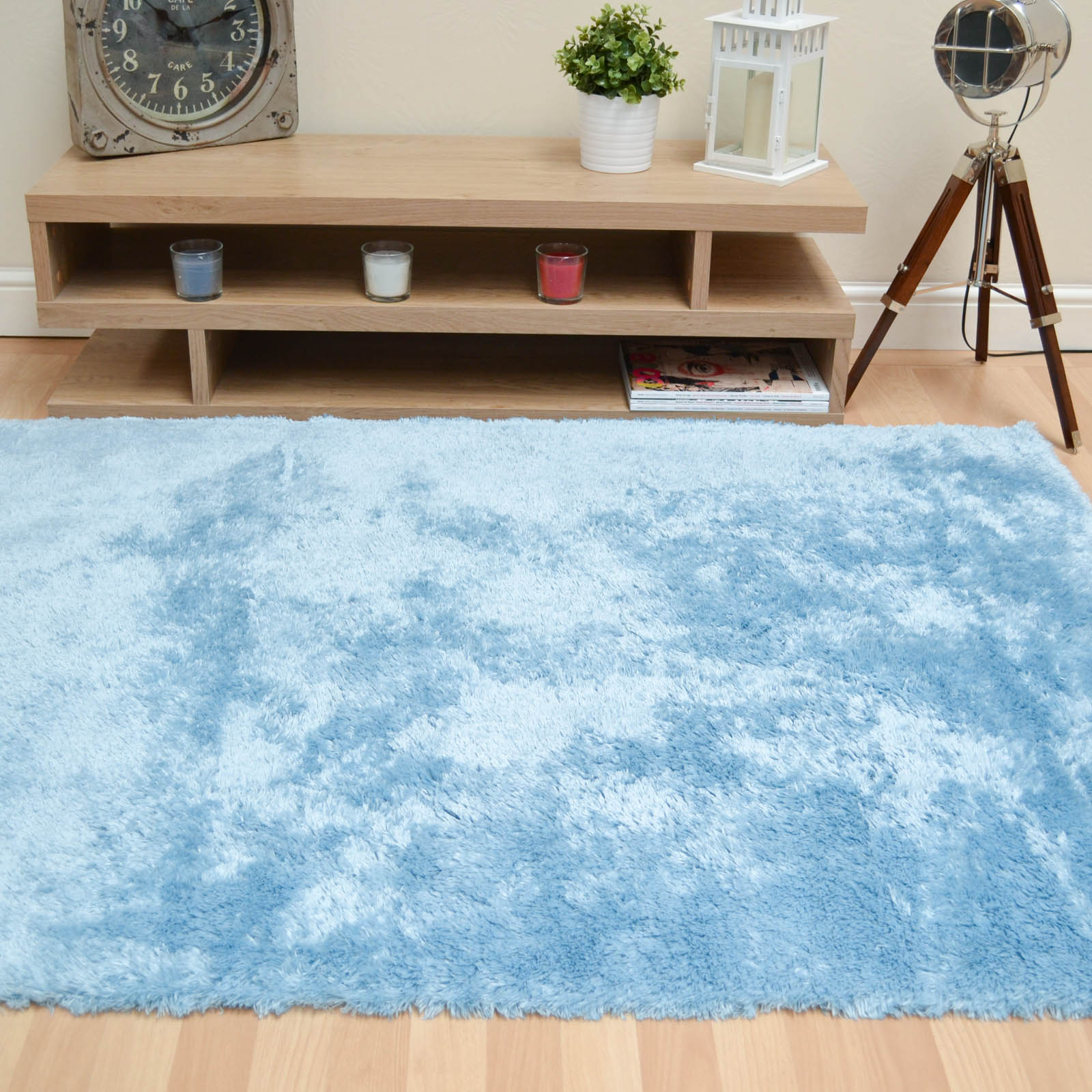 Footsie Shaggy Rugs FOO06 in Blue