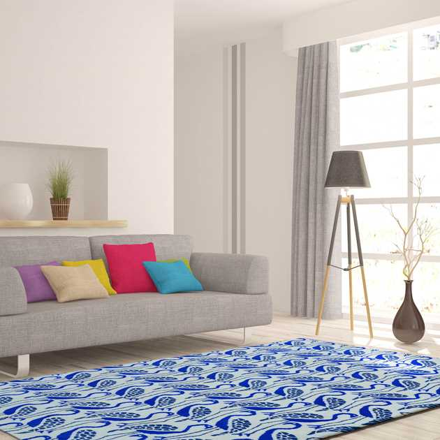 Flamingo Rugs in Blue