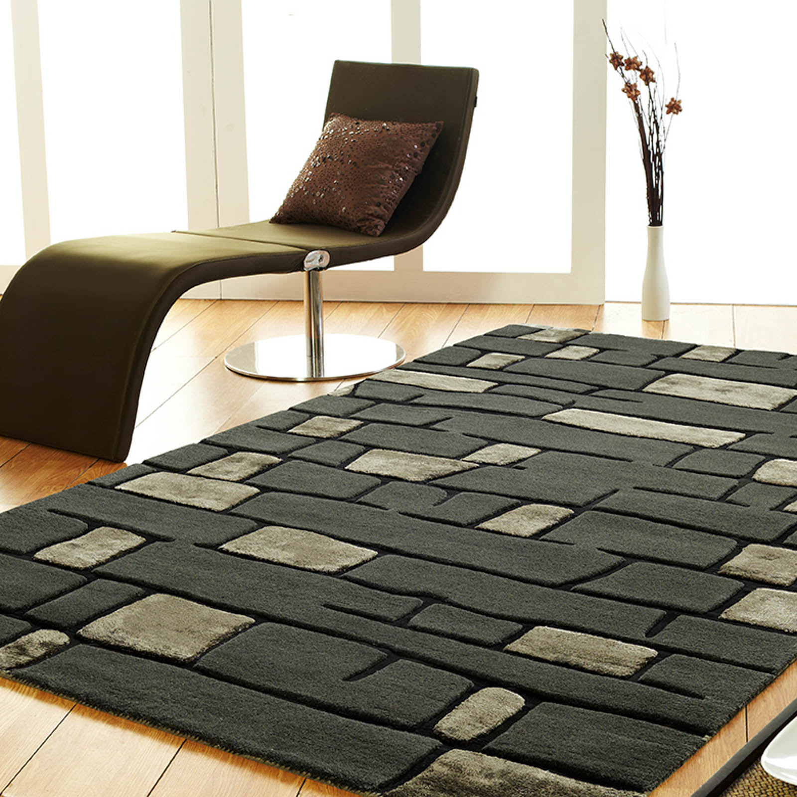 Unique Fortress Rugs in Dark Grey