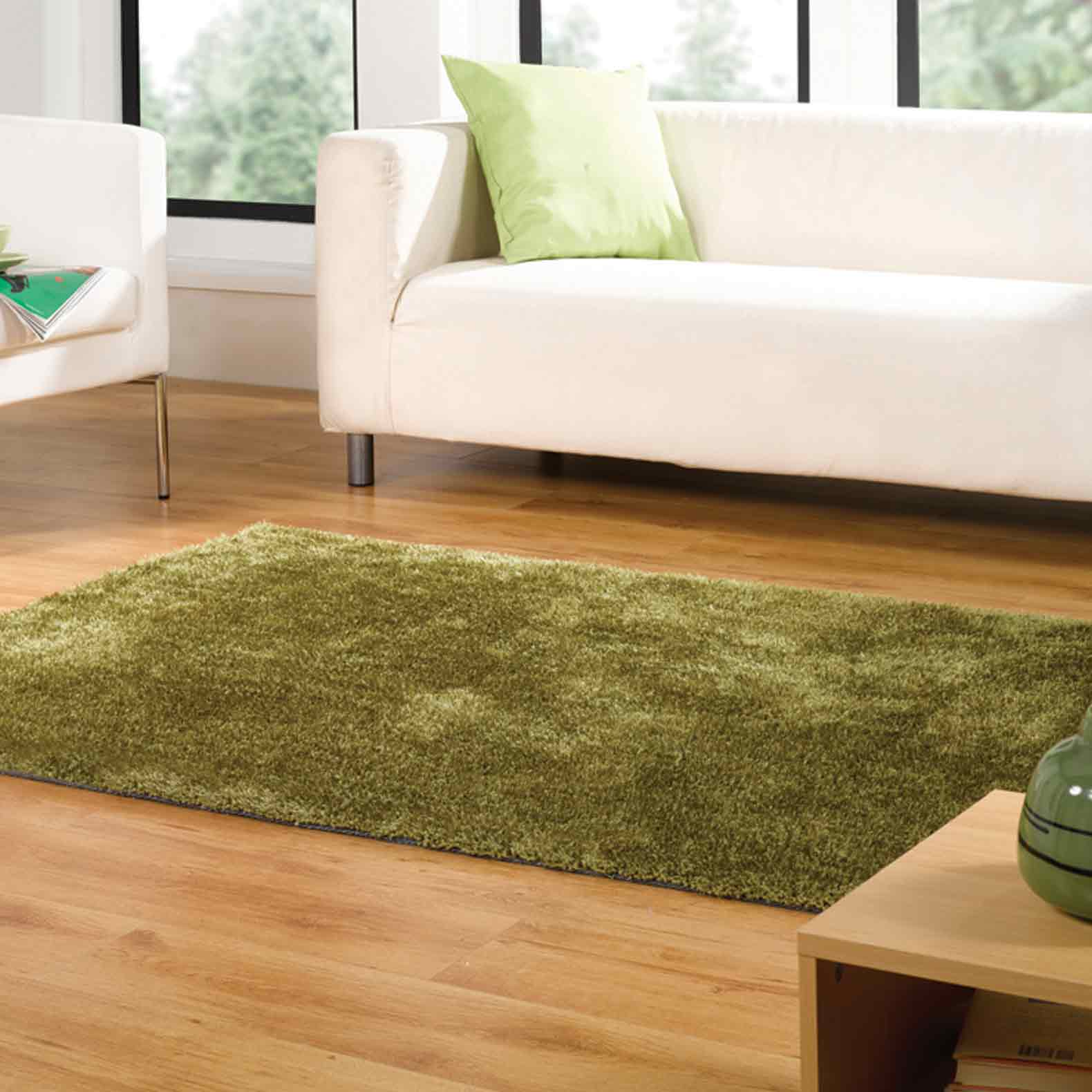 Grande Vista Shaggy Rugs in Green Mix