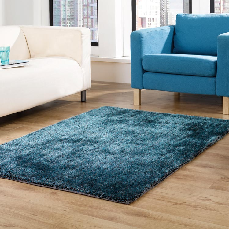 Grande Vista Shaggy Rugs in Teal