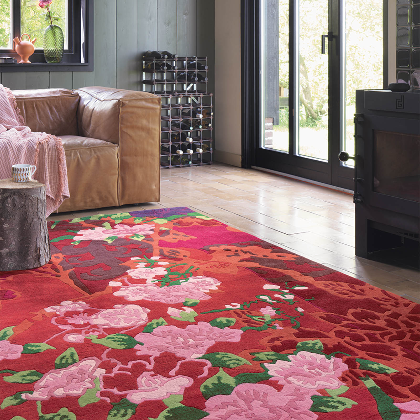 Kodari Garland 33300 Pink Red Hand Knotted Wool Rugs by Brink & Campman