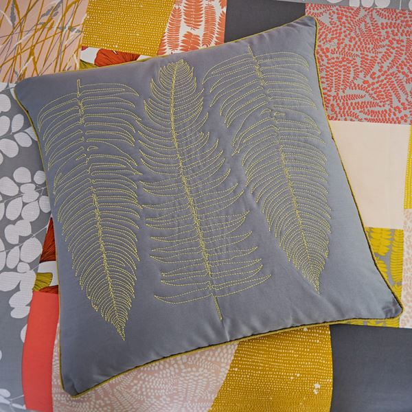 Ginkgo Patchwork Cushion - Grey