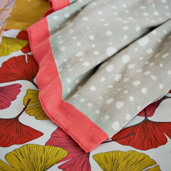Ginkgo Patchwork Throw - Pink Linen