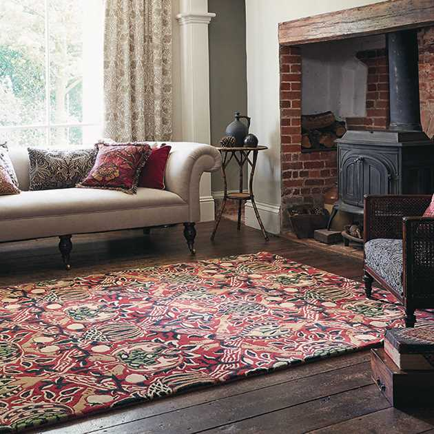 Granada Rugs 27600 in Red and Black by William Morris