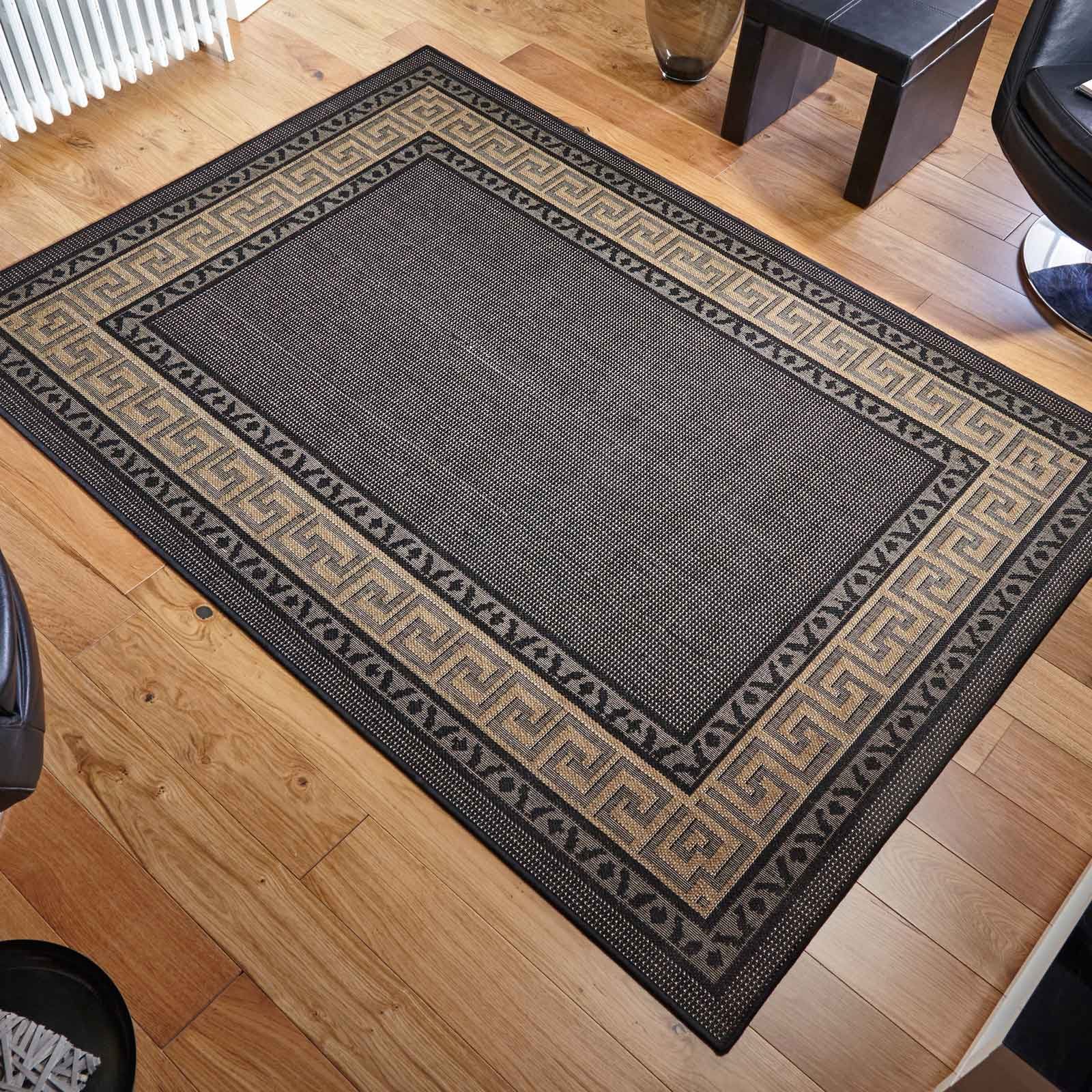 greek key flatweave anti slip rugs in black