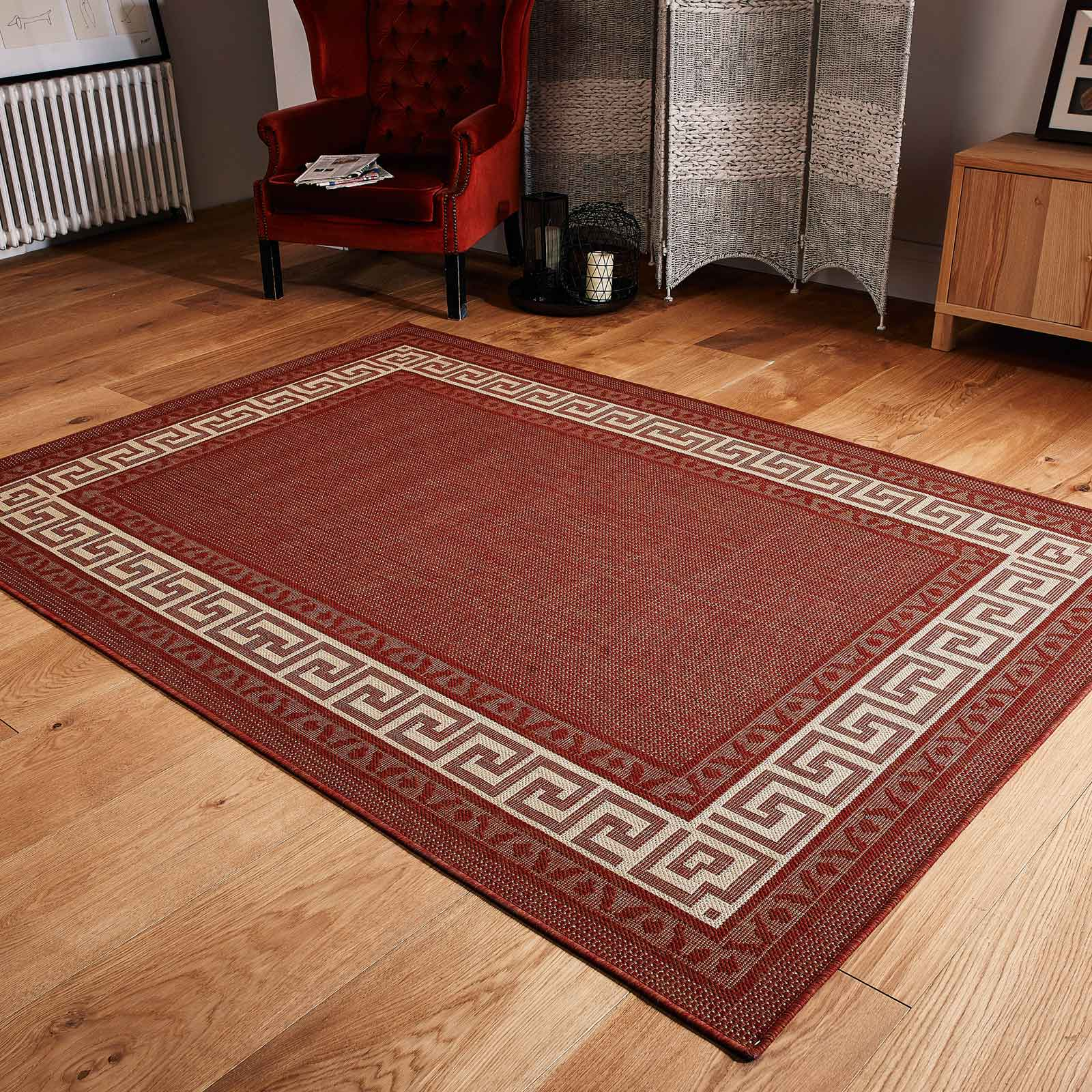 Greek Key Flatweave Anti Slip Rugs In Terracotta