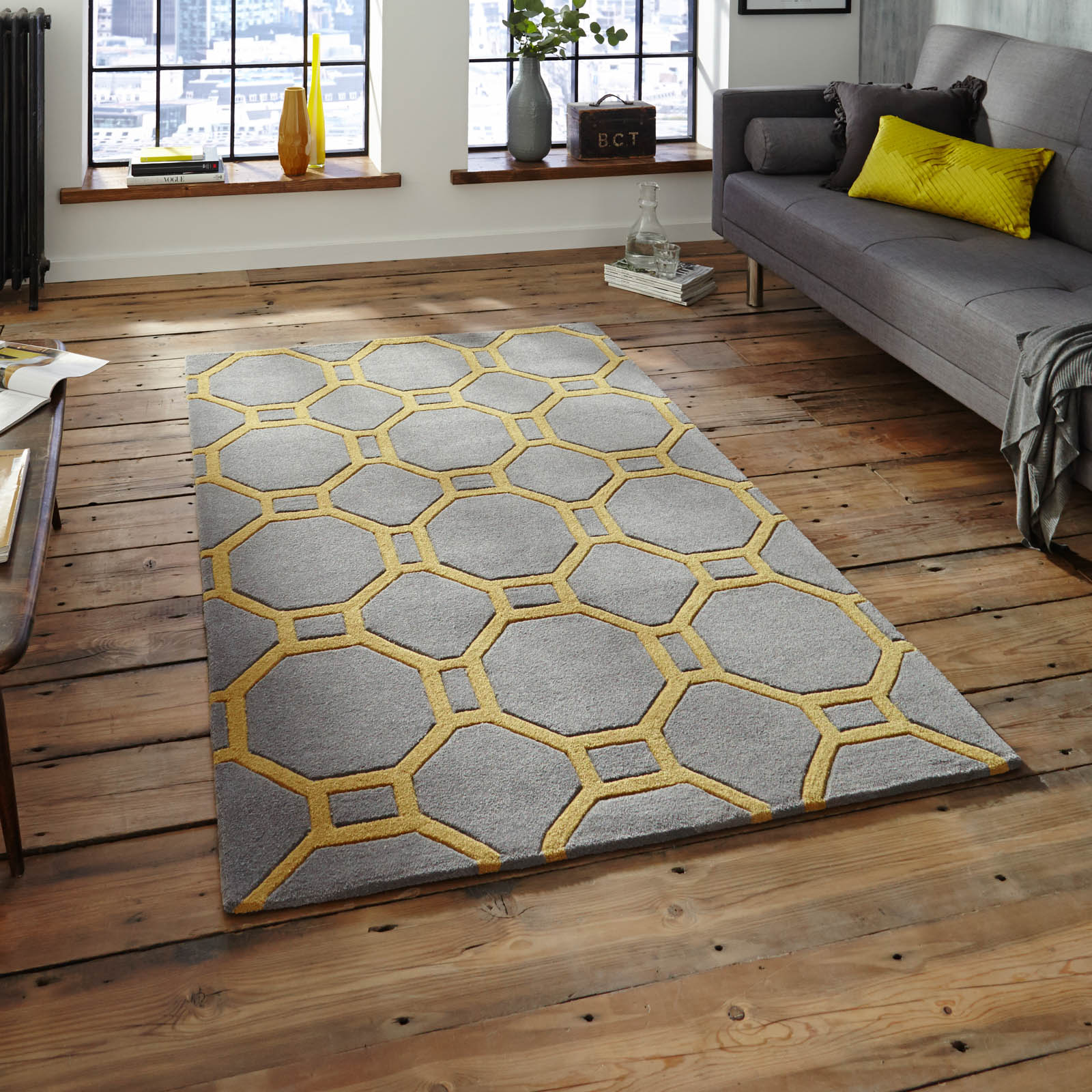 Hong Kong Hk 4338 Rugs In Grey Yellow Free Uk Delivery