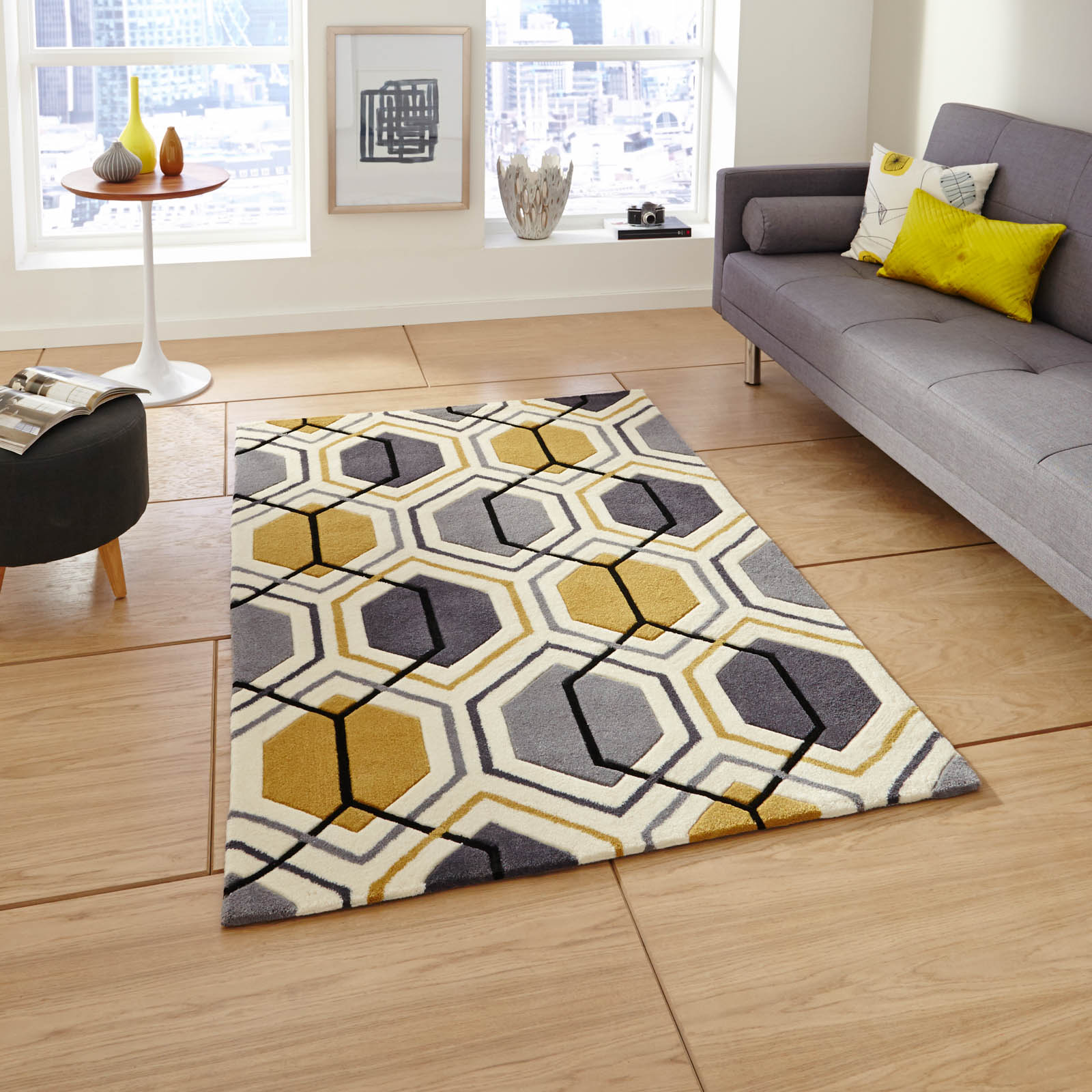 Hong Kong HK 7526 Rugs in Grey Yellow
