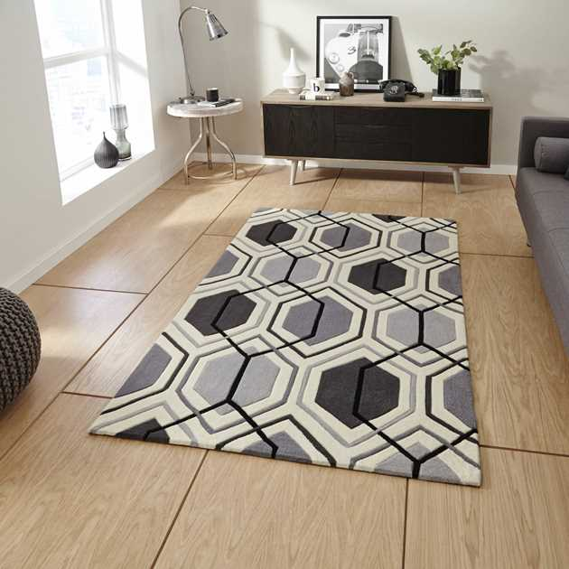 Hong Kong HK 7526 Rugs in Grey