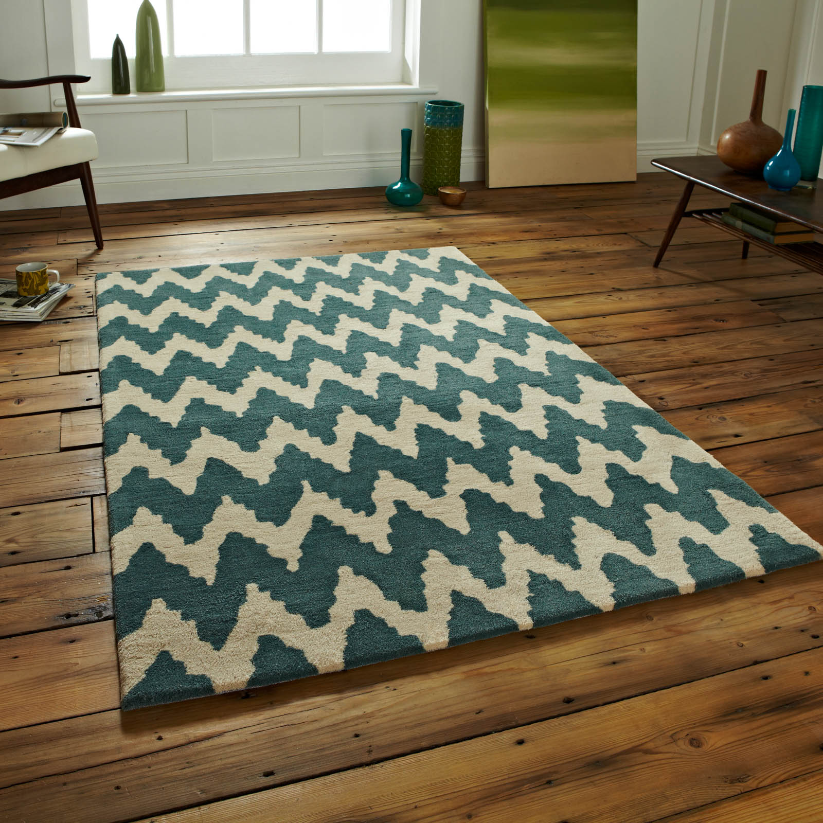 Hong Kong Rugs HK867 In Teal Beige