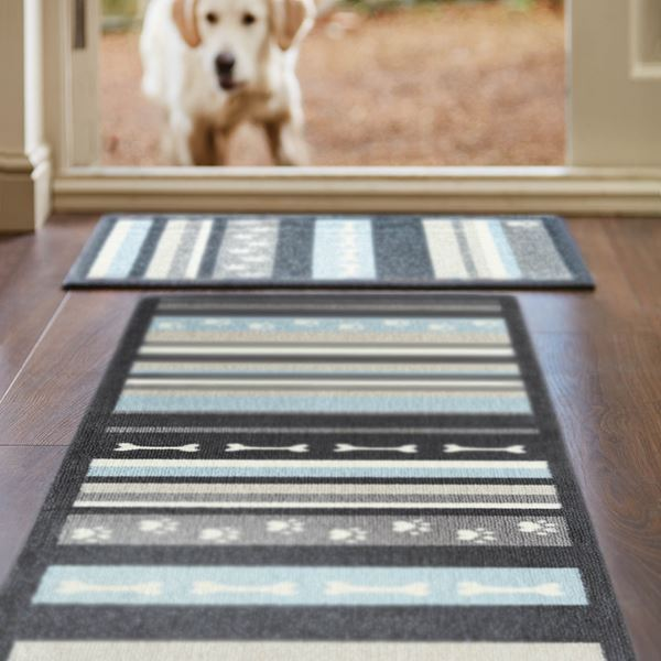 Dog Stripe Runner - Grey Blue