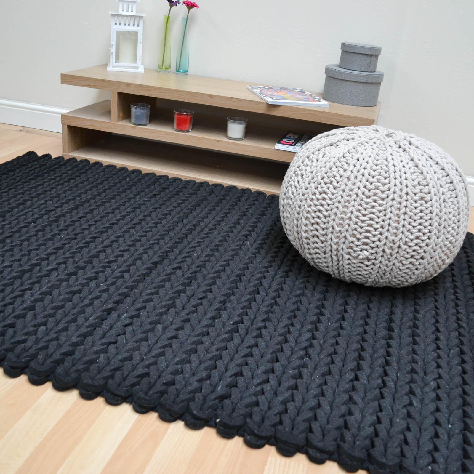 Helix Felted Wool Braid Rugs in Charcoal