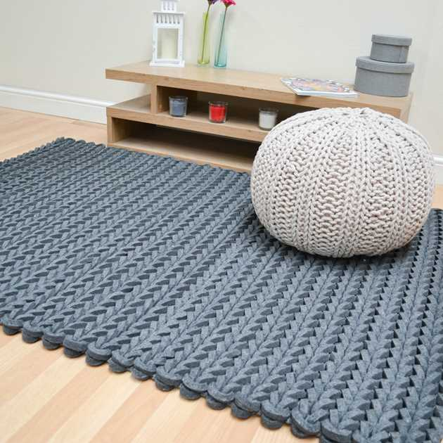 Helix Felted Wool Braid Rugs In Grey Free Uk Delivery