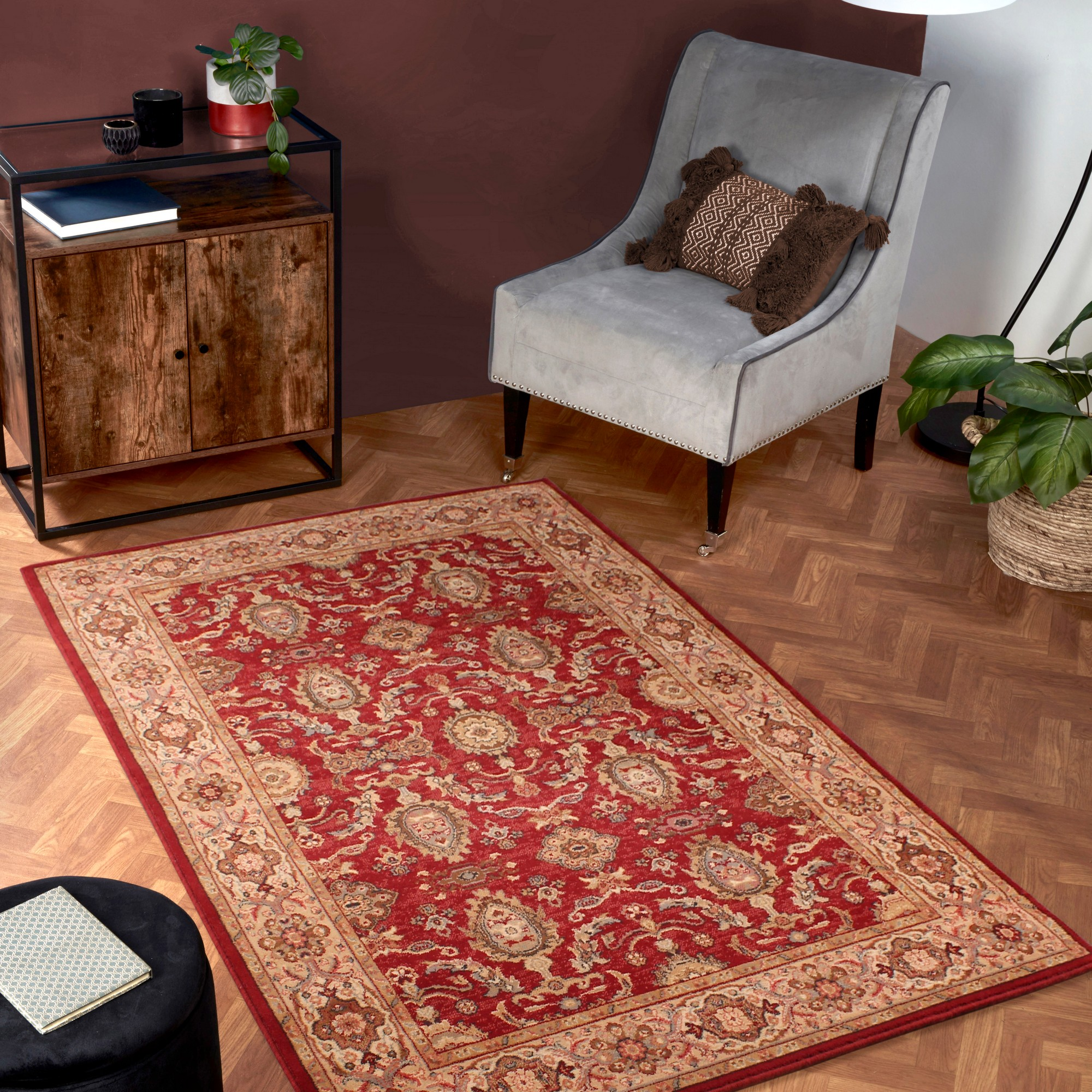Keshan Supreme Herati Rugs in Red