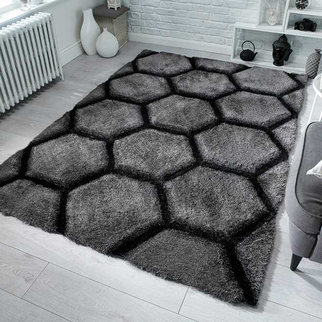 Verge Honeycomb Rugs in Charcoal Grey