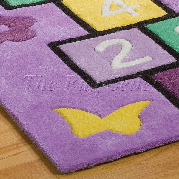 Play Rug Boys Football Pitch Childrens Rug Green: Play Hopscotch Rugs In Lilac