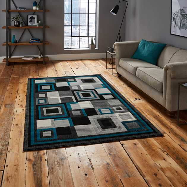 Hudson Rugs 3222 in Black and Blue