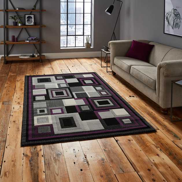 Hudson Rugs 3222 in Black and Purple