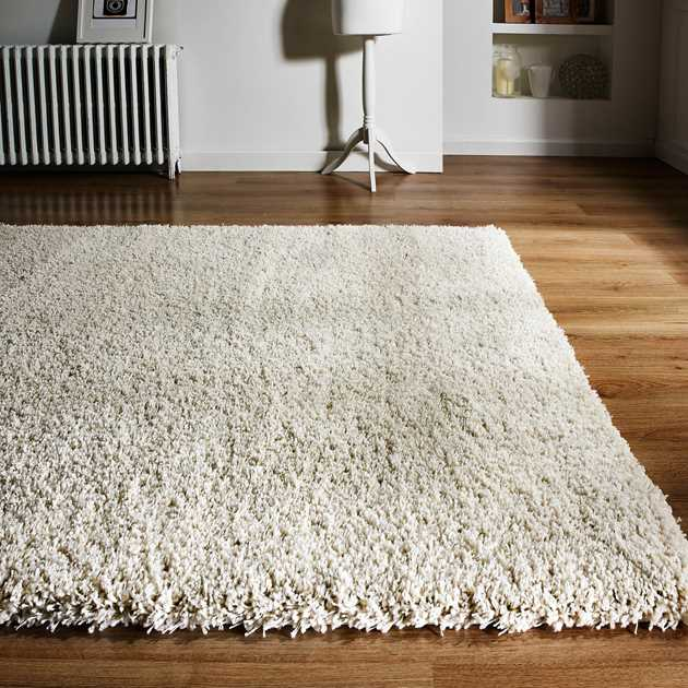 Hudson Shaggy Rugs in Ivory