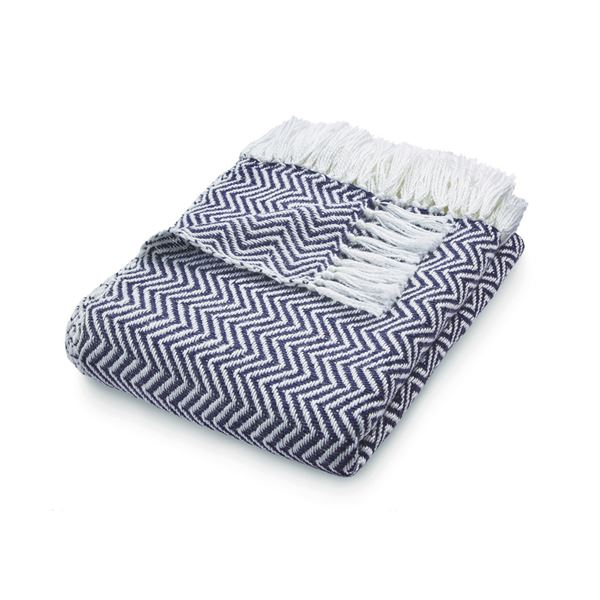 Herringbone Throw - Navy